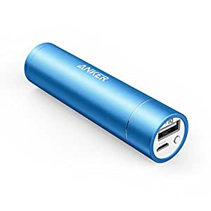 Anker Astro Mini 3000mAh Ultra-Compact Lipstick-Sized Portable Power Bank Pack External Battery USB Charger with PowerIQ Technology for iPhone 6 5S 5C 5 4S, Galaxy S5 S4 S3, Note 4 3, HTC One, and most other Phones - Blue