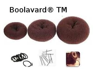 """Lot de 3 Couronnes pour Chignon """"Donut"""" Châtain - Nouveaux Formats: 1 petit (diamètre 6cm) + 1 moyen (8cm) + 1 grand (10cm)+ 10 élastiques noirs + 10 épingles à chignon de Boolavard ® TM"""