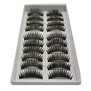 SODIAL(R) 10 Pair Long Black False Eyelashes Eye Lashes Makeup