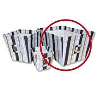 MAX/PREP SCHOOL BLUE STRIPE LARGE FABRIC STORAGE BIN - Max Stripe Twill Covered Wire Frame; 18