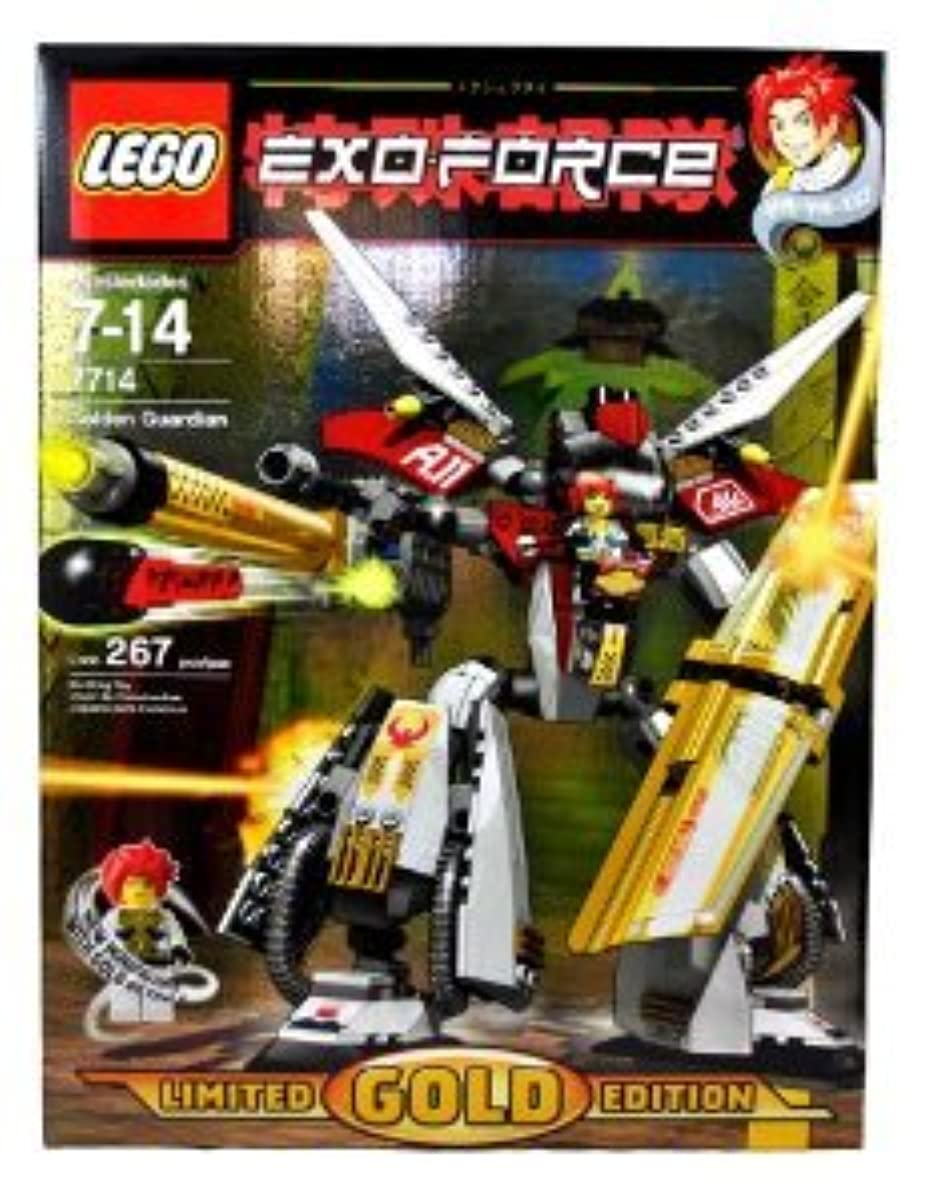 [해외] LEGO (레고) YEAR 2007 LIMITED GOLD EDITION EXO-FORCE SERIES MECHA 자동차차 피규어 인형 SET # 7714 - GOLDEN GUARDIAN WITH UNIQUE GOLD COLOR FEATURE, GIANT GOLDEN SHIELD, MEGA CANNON ARMS WITH MISSILE PLUS HA-Y