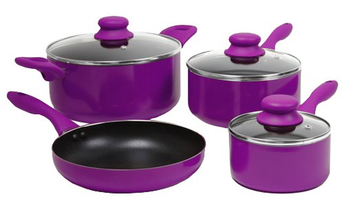 Gibson 83549.07 ColorSplash Branston 7-Piece Aluminum Cookware Set, Purple (Kitchen Ware Purple compare prices)