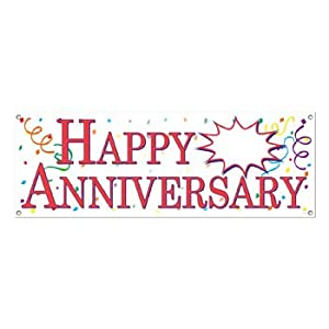Beistle 57516 Happy Anniversary Sign Banner, 5-Feet by 21-Inch by The Beistle Company