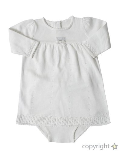 Max and Tilly Baby Girl Soft Knitted Cotton Dress and matching Bloomers 2 Piece Set size 0-3 months - Cream