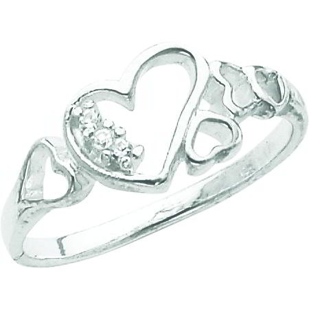 Sterling Silver Cubic Zirconia Heart Promise Ring Sz 6