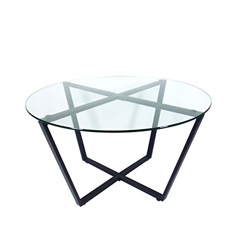 Glass coffee table clear top black base modern round for Round glass top coffee table with metal base