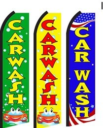 Car Wash Standard Size Swooper Feather Flag Sign Pk of 3 (Feather Flag Car Wash compare prices)