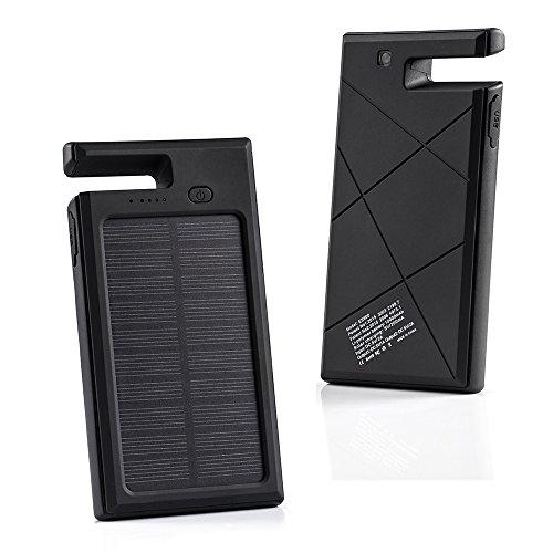 GRDE 10000mAh太陽光発電 2ポート急速充電モバイルバッテリー 緊急防災用 スマホスタンド機能付き 多用途なソーラーパネル スマホ充電チャージャー(ブラック)