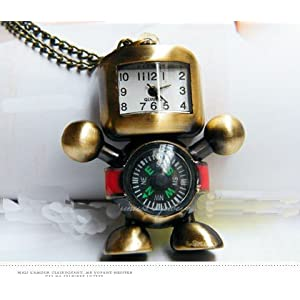 Cute Robot Compass Watch Necklace