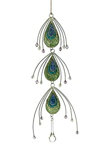 "11"" Regal Peacock Teardrop Dangle Christmas Ornament with Jewel Accents"