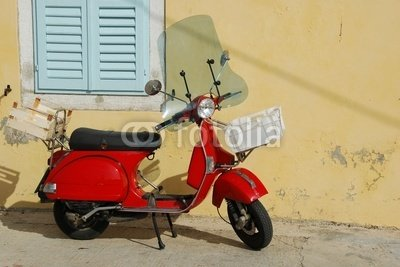 Wallmonkeys Peel and Stick Wall Decals - Red Vespa - 24