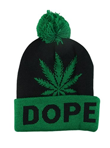 Mens-Winter-Marijuana-Leaf-Pome-Thick-Long-Beanie-Skull-Hat-One-size-4Colors-GreenBlackDope