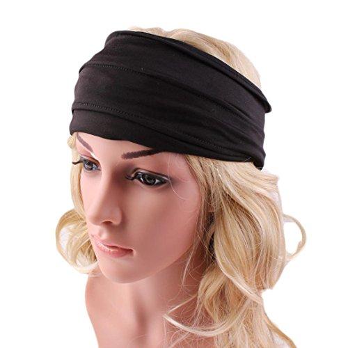 Yogogo Femmes Yoga ou Voyage Bandeau Large bande de cheveux Bandeau Courir (Noir, 0)