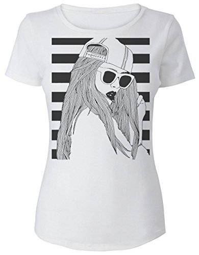 sexy-girl-posing-in-striped-background-womens-t-shirt-small