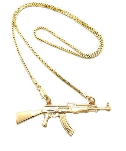 Gold Tone Machine Gun Pendant 2mm 24