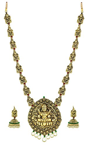 Zaveri Pearls Temple Carved & Pearl Gold Choker Necklace Set For Women/Girls