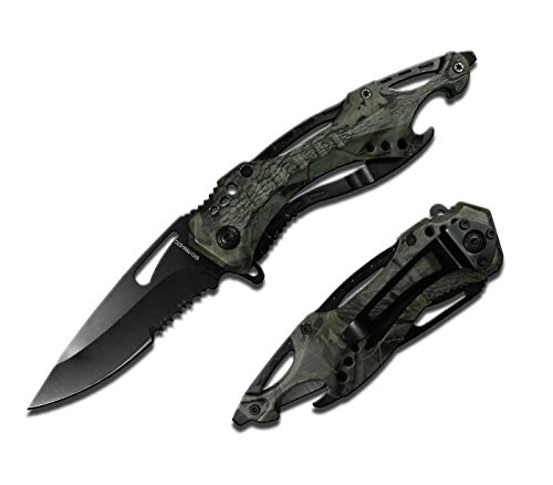 Rogue River Tactical Military Green Camo Police Style Rescue Folding Pocket Knife Spring Assisted Opening Glass Breaker Bottle Opener Belt