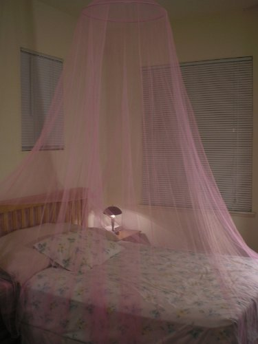 Pink Hoop Bed Canopy Mosquito Net Fit Crib, Twin, Full, Queen, King
