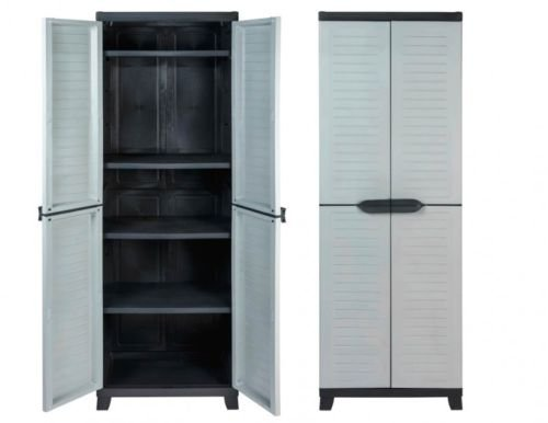 vorteils pack 2 st ck kunststoffschrank schrank mit vier h henverstellbaren b den. Black Bedroom Furniture Sets. Home Design Ideas