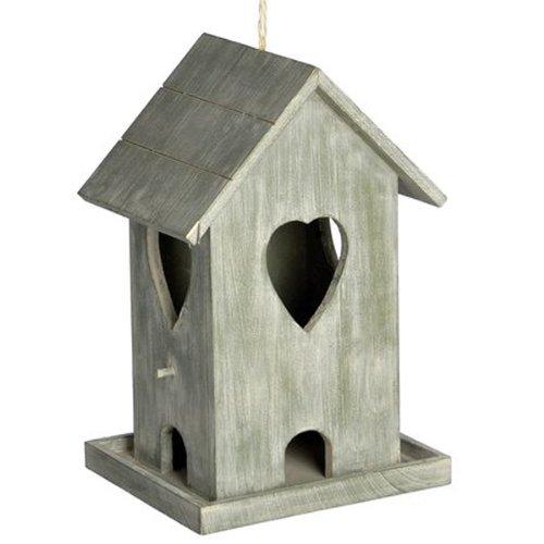 HEART - Wooden Hanging Bird House / Feeder Ornament - Driftwood