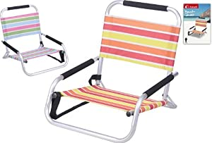 Low Slung Orange Stripe Aluminium Beach Chair