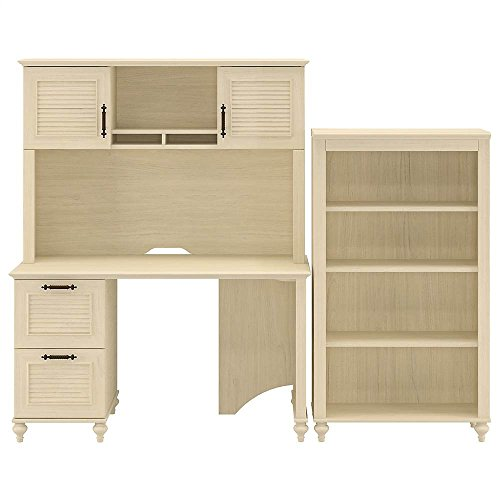 Volcano Dusk 3-Pc Office Set w Drawer Glides (Kona Coast Espresso) Bush Furniture 4 Shelf Bookcase