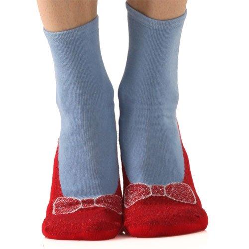 Foot Traffic Non-skid Red Ruby Slippers Slipper Socks