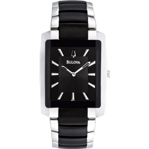 Bulova 98A117 Mens Diamonds Black Silver Watch