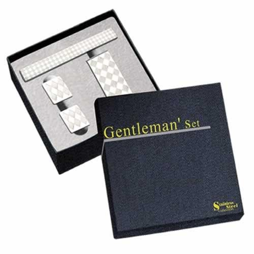 Diamond Design Stainless Steel Money Clip, Cufflinks & Tie Bar Set w/ Gift Box