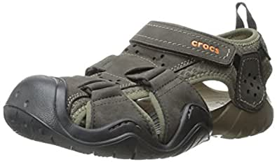 Crocs swiftwater leather fisherman men sandals shoes for Crocs fishing shoes