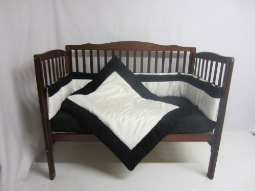 Baby Doll Zuma 3 Piece Crib Bedding Set, Black/White