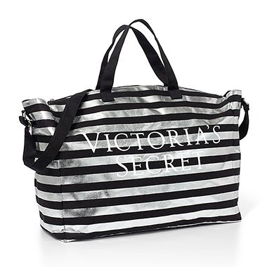 victorias-secret-bombshell-tote-duffle-bag-black-silver-stripe