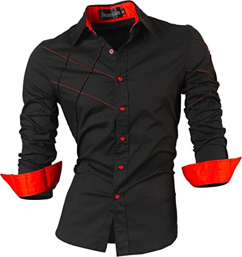 Jeansian Uomo Camicie Maniche Lunghe Moda Men Shirts Slim Fit Causal Long Sleves Fashion 2028 Black XXL