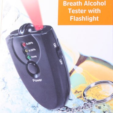 Image of Alcohol tester (Analyzer) key chain for alcoholic drinking, with drunk or sober testing feature with accurate alcohol detector technology. Alcohol test breathalyzer keychain with BUILT-IN FLASH LIGHT! (B003Y5Y1DA)