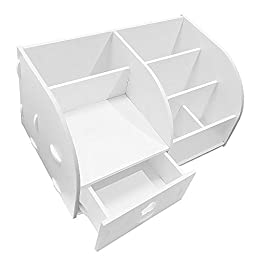 Revesun DIY Wooden Desk Organizer Small Objects Pen&Cosmetics Holder Jewelry display Storage Box Case keeps everything tidy(With drawer)White