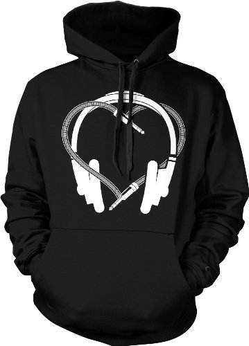 Heart Headphones Hooded Pullover Sweatshirt (Black, 2X-Large)