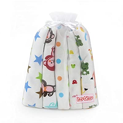 Itzy Bitsy Baby Bandana Drool Bibs Unisex 5-Pack Absorbent Cotton Modern Baby Gift Set for Boys and Girls