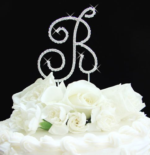 Full Crystal Monogram Wedding Cake Toppers Silver Initial Letter