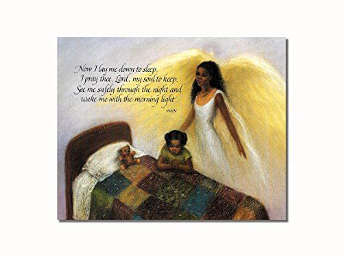 African American Black Guardian Angel Girl Praying Lord's Prayer Wall Picture 8x10 Art Print (African American Pictures compare prices)