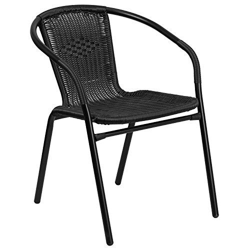 Flash Furniture Rattan Indoor-Outdoor Restaurant Stack Chair, Black