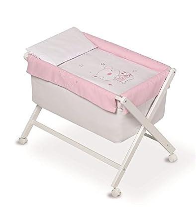 Pirulos 28200513–Minicuna pieghevole forbici naturale, motivo orsetto Star, 68x 90X71cm, colore: bianco/rosa