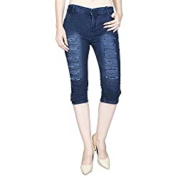 Ajaero Slim Fit Denim Lycra Women Capri (Dark Blue, 32)