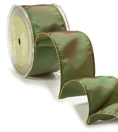 May Arts 2-Inch Wide Ribbon, Green Taffeta with Gold Edge