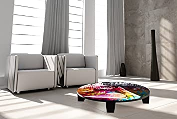 "TAF DECOR ""Butterfly Girl"" Art Coffee Table, 35"" X 35"" X 7.5"", Multicolored"