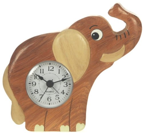 Elephant Clock : Handcrafted Wooden Gift Idea : On/Off Alarm Switch On Reverse : Top Hand Painted Gifts For Boys, Girls, Kids, Children & Fun Loving Adults! : 1 Train, 1 Bird & 7 Animal Designs Available : Height Approx 12Cm