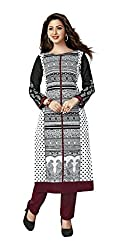 AMP IMPEX Ethnicwear Women's Kurti Fabric White Free Size