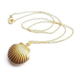 Amazon.com: Sea Shell Locket, Mermaid Valentine Necklace, Beach Locket
