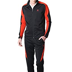 Fuerza Mens Premium Material Knit Jacket & Pants Tracksuit (Small, Black/Red)