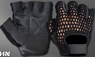 Fingerless Mesh Leather Cycle Biker Gym Gloves Cycling Body building Weight lifting Black from Kango Fitness