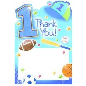 Amscan 1st Birthday All-Star Thank You Cards
